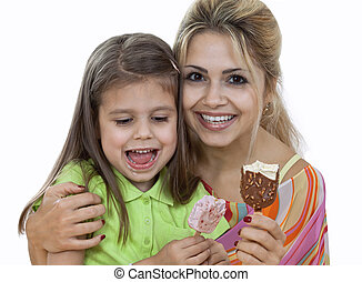 Mother And Daughter eating Ice Cream