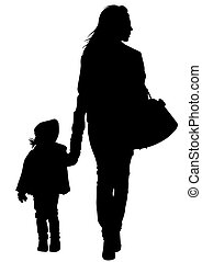 Mother and daughter - Silhouette of a mother and daughter on...