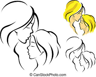 mother and daughter - Line art logo of a mother and her...