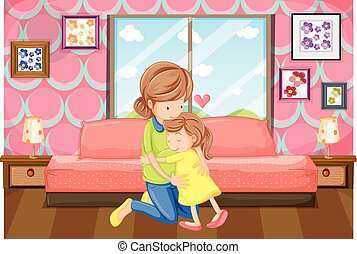 Mother and daughter hug in bedroom illustration