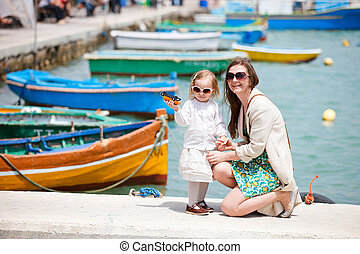 Mother and daughter in Malta - Mother and her little...