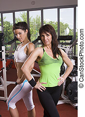 mother and daughter in the gym