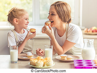 Mother and daughter in the kitchen