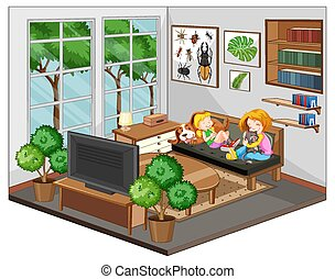 Mother and daughter in the living room with furnitures