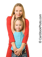 Mother and daughter isolated on white background