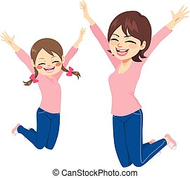 Mother And Daughter Jumping Happy