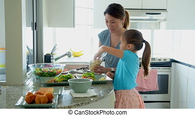 Mother and daughter keeping food on plate in kitchen 4k -...