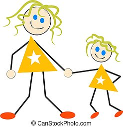 Mother and Daughter - kiddie style drawing of mother and...