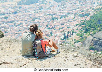 Meteora - Mother and daughter looking at the town of ...