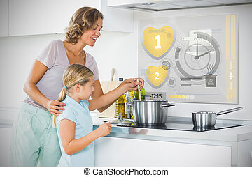 Mother and daughter making dinner using futuristic interface in the kitchen