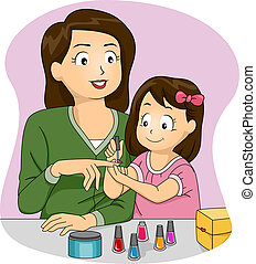 Mother and Daughter Nail Polish - Illustration of a Mother...