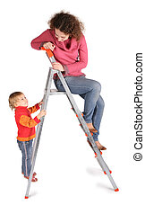 mother and daughter on  stepladder on white