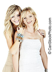 mother and daughter on white background