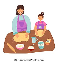 Mother and daughter pastime, healthy cooking concept. Woman teaches her little girl a gluten free healthy pastry.