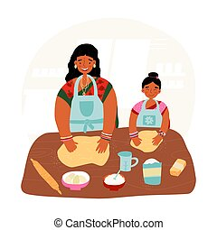 Mother and daughter pastime, together cooking concept. Indian woman teaches her little girl to bake and beat the dough.