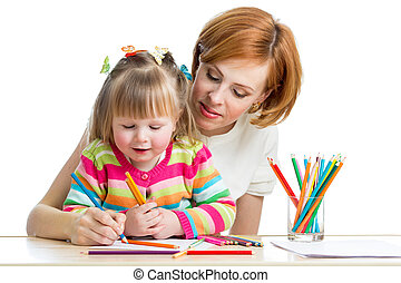 mother and daughter pencil together
