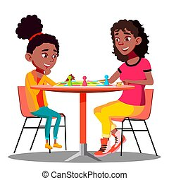 Mother And Daughter Playing A Board Game Together Vector. Isolated Illustration