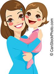 Mother and Daughter - Pretty young mother holding and...
