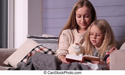 Mother and daughter reading bedtime story on sofa