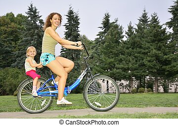 Mother and daughter ride on bicycle 2