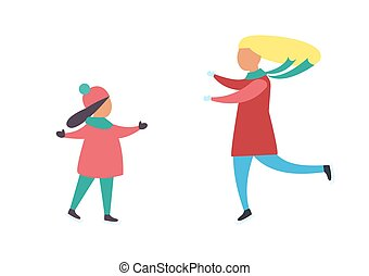 Mother and Daughter Running to Each Other Vector