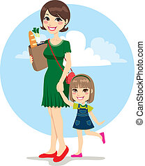 Mother and Daughter Shopping - Sweet mother and cute...