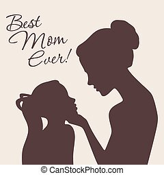 Mother and daughter silhouettes. Vector Illustration