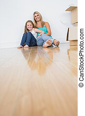 Mother and daughter sitting on the floor together