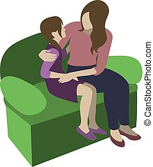 mother and daughter sitting on the sofa, talking and hugging