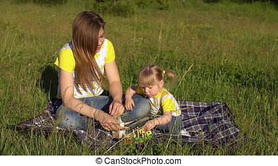 Mother and daughter spend time in the Park.