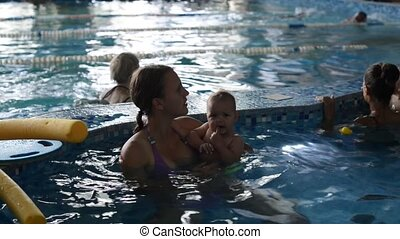 Mother and daughter training at the