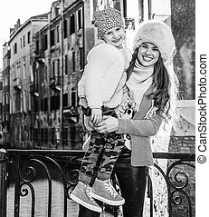 mother and daughter travellers in Venice, Italy in winter