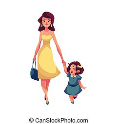 mother and daughter girl walking with her mom mother and daughter little girl walking with her mom holding hands flat mother and daughter girl walking with