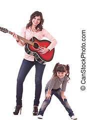 mother and daughter with guitar