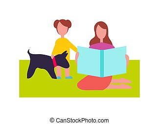 Mother and Daughter with Little Dog Illustration