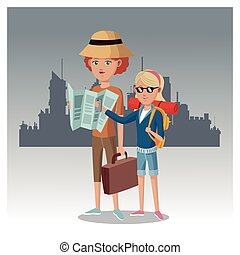 mother and daughter with map suitcase backpack traveler urban background