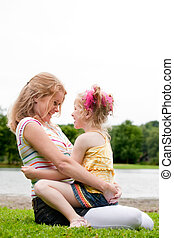 Mother and Daugther on the grass