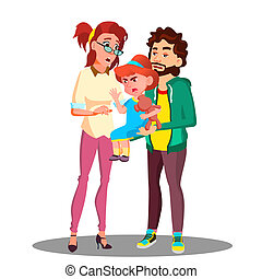 Mother And Father Calming Down A Little Crying Child Vector. Isolated Illustration