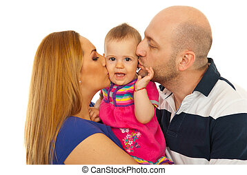 Mother and father kissing amazed baby