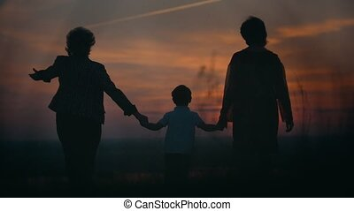 Mother and grandmother with little son walking on the summer field holding hands at sunset
