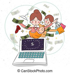 Mother and her baby childern on laptop. Business woman working from home earning dollar online