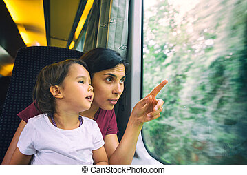 Mother and her daughter enjoy the train trip