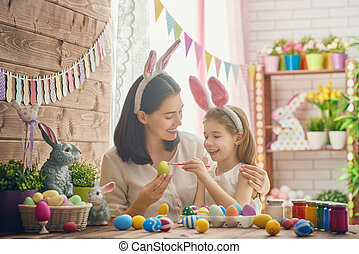 family preparing for Easter - Mother and her daughter...