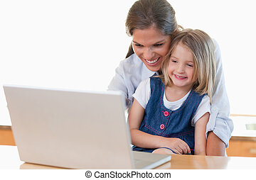 Mother and her daughter using a notebook