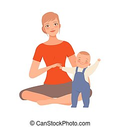 Mother and her joyful baby character Illustration Vector