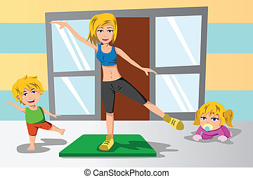 Mother  and her kids exercise