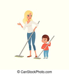 Mother and her little son sweeping the floor at home together vector Illustration on a white background