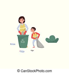 Mother and her son gathering garbage for recycling in trash bin, environmental protection and education concept vector Illustration on a white background