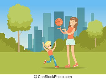 Mother and her son playing together with a ball in city park outside, family leisure vector illustration