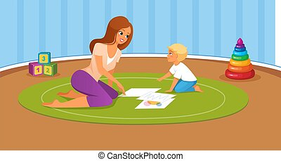 Mother and her son playing